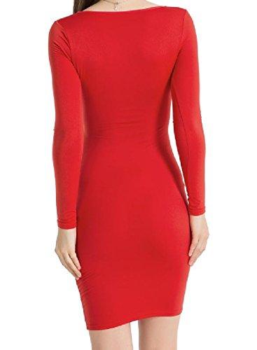 Couleur Pure De Confortables Femmes Enveloppées De Sangles Croisées Poitrine Robes Club Rouge Sexy