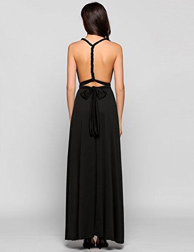 Teamyy Vestido largo de fiesta sin mangas vestido de vendaje sin espalda para las mujeres Negro
