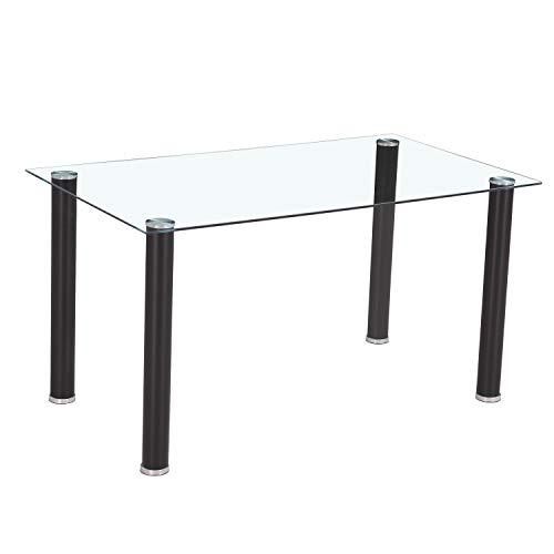 HomeSouth - Mesa de Comedor Negra, Mesa de Cristal para Cocina, Medidas Mesa Moderna salon: 140x80 cm Ancho