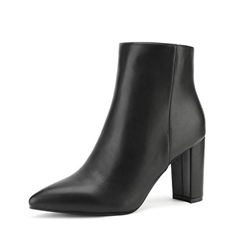 DREAM PAIRS Women's Black Pu Chunky Heel Ankle Booties Pointed Toe Short Boots Size 7.5 B(M) US Sianna-1