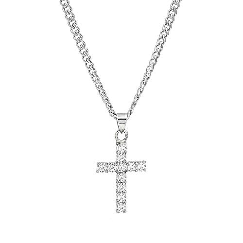 30 Mm Cross Pendant - Lax Jewelry Womens Mens Cross Stainless Steel Pendant with CZ Stone 24 inches Chain 30mm Cross