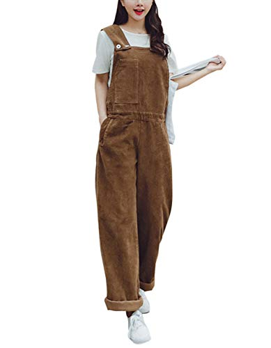 Gihuo Women's Baggy Wide Leg Loose Corduroy Bib Overalls (Coffee, Medium)