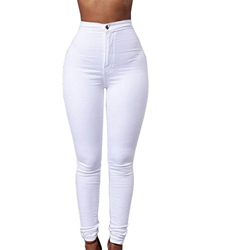 TheFound Women Pencil Stretch Casual Denim Skinny Jeans High Waist Pants (S, White)