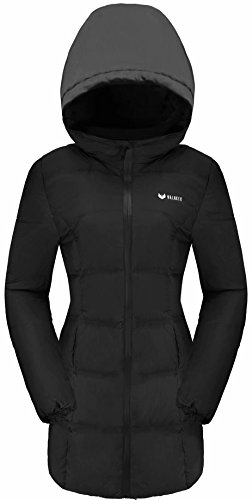 Valuker Women's Seamless Hooded Down Coat Jacket Plus Size Parka Black-11-3X