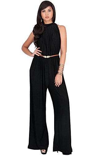 - KOH KOH Plus Size Womens Sexy Sleeveless Halter-Neck Wide Leg Pants Cocktail Overall Long Work Day Suit Pant Suits Pantsuit Playsuit Jumpsuit Jumpsuits Romper Rompers, Black 2XL 18-20