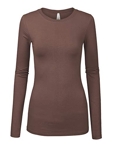 Brown Long Sleeve Top - Womens Basic Light Brown Colors Slim Fit Long Sleeve Round Neck Top (1100-LIGHT Brown-M)