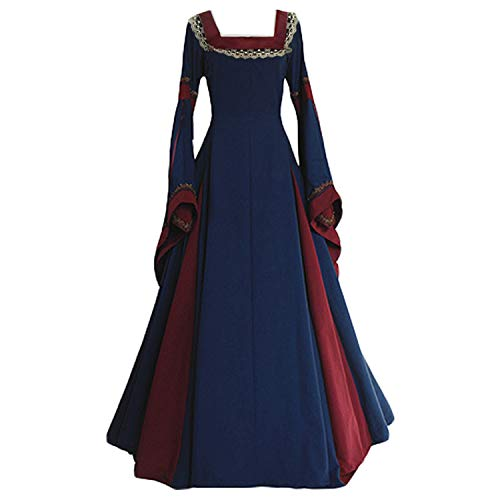 ValorSoul Renaissance Costumes Dress for Women Trumpet Sleeves Fancy Medieval Gothic Lace Up Dress (S, Navy) -