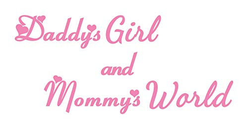Daddys Girl and Mommys World Wall Decal is a Vinyl Wall Decal Sticker Displaying an Inspiring Wall Decal - Show That She's Daddy Little Girl with This Beautiful Wall Decal - Soft Pink