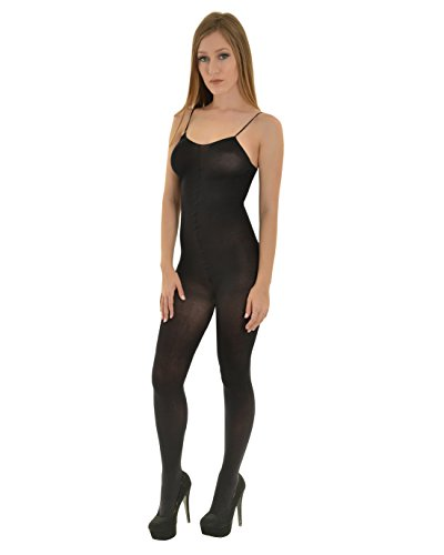 Womens One Piece Bodysuit Crotchless Body Stocking Opaque Nude White or Black Color: (Opaque One Piece)