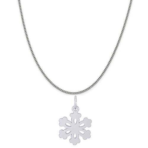 Rembrandt Charms 14K White Gold Snowflake Charm on a 14K White Gold Curb Chain Necklace, 16
