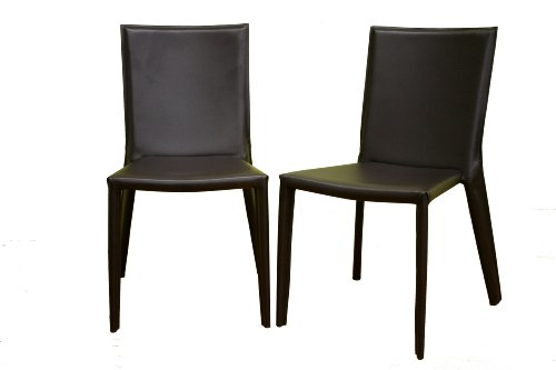Baxton Furniture Studios Russo Bonded Leather Dining Chair, Chocolate Brown, Set of 2
