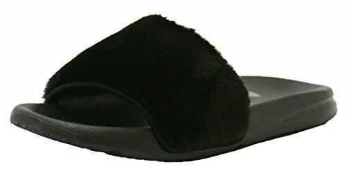 Womens Ladies Celebrity Designer Inspired Flat Farrah Fur Slip On Rubber Sliders Mules Slippers Sandals Shoes - V92 Black lci0CT