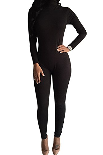 Pink Queen Women's Winter Long Sleeve High Neck Bodycon Pants Jumpsuits Rompers (M, Black)