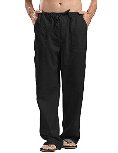 (COOFANDY Mens Linen Cotton Loose Casual Lightweight Elastic Waist Straight Pants (M, Black))