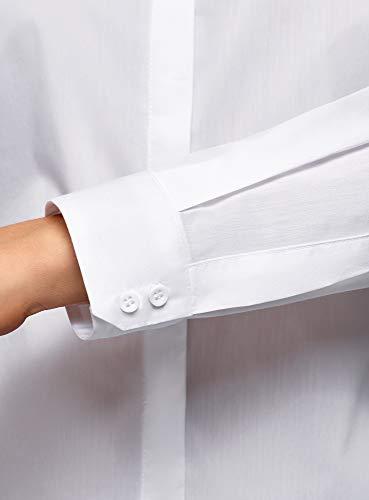 Blanco Entallada Camisa Mujer Básica 1000n Oodji Ultra qwgXIpBWS