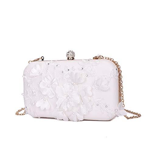 Peng Fang Women Flower Clutches Evening Bags Handbags Wedding Clutch Purse(white)