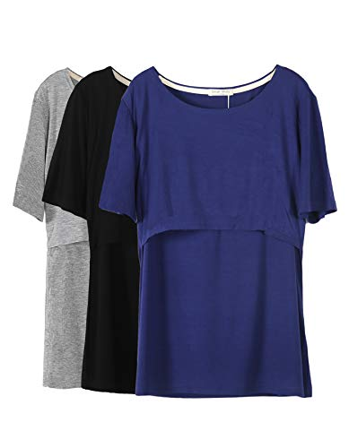- Smallshow 3 Pcs Maternity Nursing T-Shirt Nursing Tops Dark Blue-Black-Grey,X-Large