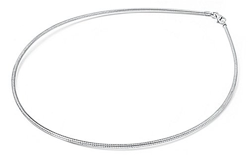 - Sterling Silver Round Omega Snake Chain 1.3mm Solid 925 Italy Wire Necklace 16