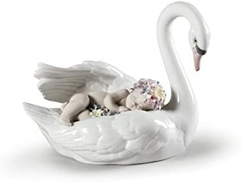 LLADR Drifting Through Dreamland Swan Figurine. Porcelain Swan Figure.