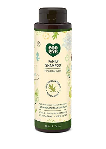 ecoLove - Natural Shampoo with Organic Cucumber Spinach & Parsley for All Hair Types Vegan Shampoo for Women Men Kids Babies Cruelty Free SLS Free, 17.6 oz