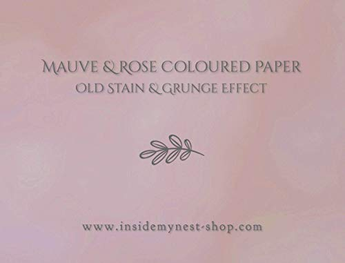Mauve Dusty Rose Colored Paper Subtle Old Stain Grunge Effect for Craft Certificates Letterhead Invoices - A4-11.69x8.27 inches / 29.7x21 cm - 120gsm - Pack of 100 Sheets from Inside My Nest