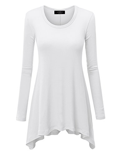 (WT953 Womens Round Neck Long Sleeve Rib Trapeze Tunic Top S White )