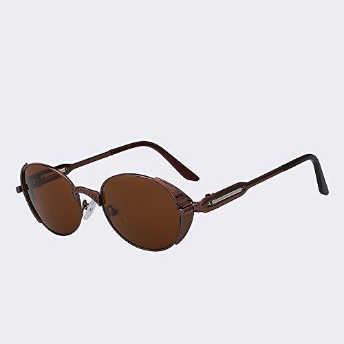 Mujeres metal gafas Gafas marca de alta Mujer de Hombres Vintage humo dibujo de Brass oval estilo de UV plata sol TIANLIANG04 Retro punk de sol calidad w del s400 gafas brown de Pdw77Hq