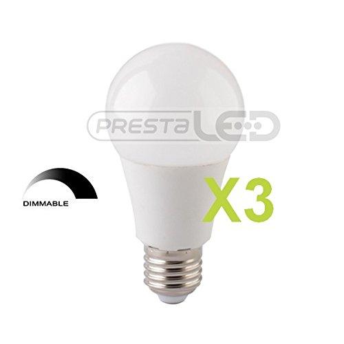 PRESĂ-3-BOMBILLA LED E27, 10 W, LUZ BLANCA CÁLIDA, A60 PARA REGULADOR DE INTENSIDAD REGULABLE.: Amazon.es: Iluminación