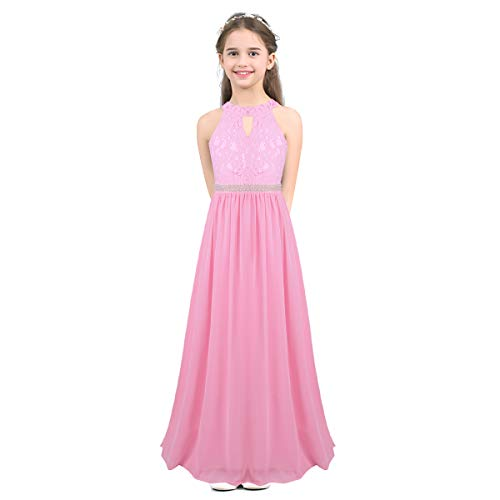 iEFiEL Girls Halter Lace Chiffon Flower Wedding Bridesmaid Dress Junior Ball Gown Formal Party Pageant Maxi Dress Pink Beaded Waist 10
