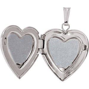 En argent sterling 15mm .010ctw Diamant Coeur Médaillon