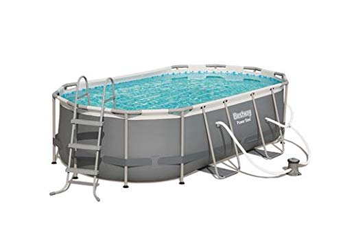 Bestway Power Steel Above Ground Pool, White/Gray
