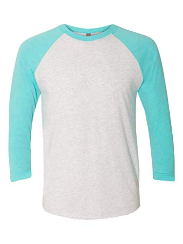 051 Unisex Tri-Blend 3 By 4 Sleeve Raglan - Tahiti Blue & Heather White, Extra Large ()