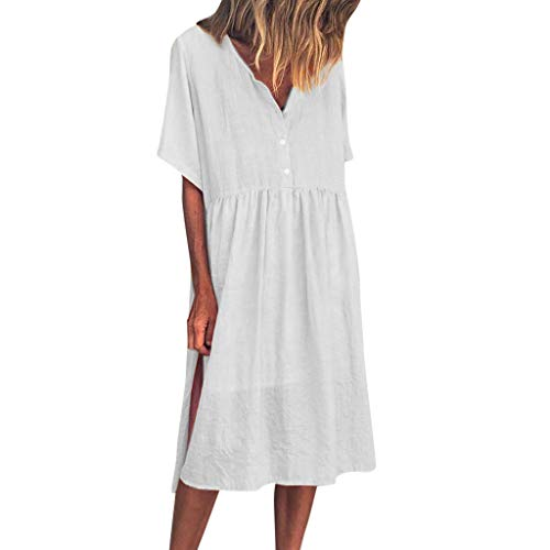 Sunhusing Womens Stylish Loose Solid Color V-Neck Short-Sleeve Button Closure Pleated Waist Knee Length Dress White]()