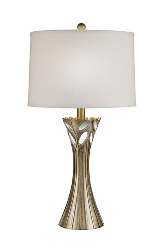 Catalina 20117-000 3-Way 29.5-inch Antique Gold Table Lamp with a Modified White Linen Drum Shade with Light Gold Silken (150w 3 Way Table Lamp)