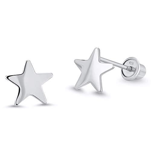 Rhodium Plated Star Earrings - 925 Sterling Silver Rhodium Plated Plain Star Screwback Baby Girls Earrings