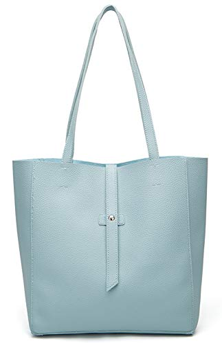 Dreubea Women's Large Tote Shoulder Handbag Soft Leather Satchel Bag Hobo Purse Blue