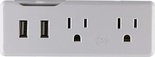 GE Power Station Tap, 2 USB and 2 AC Outlets 2.1A  Horizontal, White, - Outlet Eye
