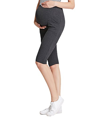4cdff91249724 Liang Rou Maternity Belly Support Mini-Ribbed Stretch Cropped Leggings Dark  Gray