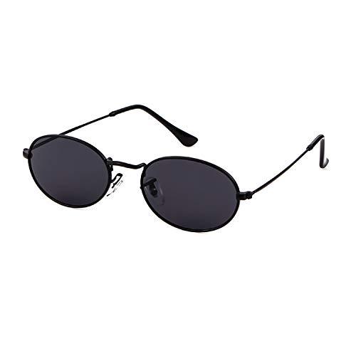 Oval Sunglasses Vintage Retro Sunglasses Designer Glasses for Women Men (Black Frame Grey Lens, 42) (Oval Black Sunglasses)