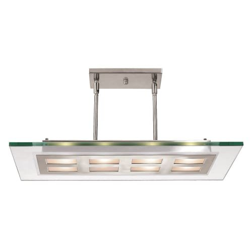 Access Lighting 50108-BS/CLR Aquarius Eight Light 24-Inch Width Brushed Steel Finish Pendant, Clear