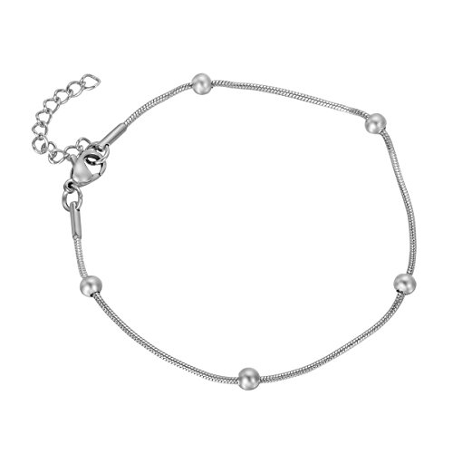 HooAMI Charm Bracelet Stainless Steel Round Snake Chain with Smooth (Best Hooami Charm Bracelets)