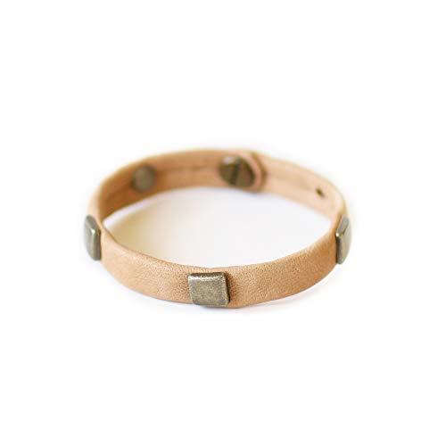 Abundance Adjustable Antique Brass Genuine Soft Italian Leather Giving Bracelet, Sand