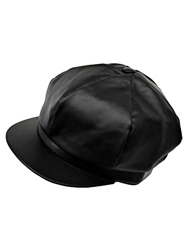 Luxury Divas Black Genuine Leather 6 Panel Newsboy Cap Hat