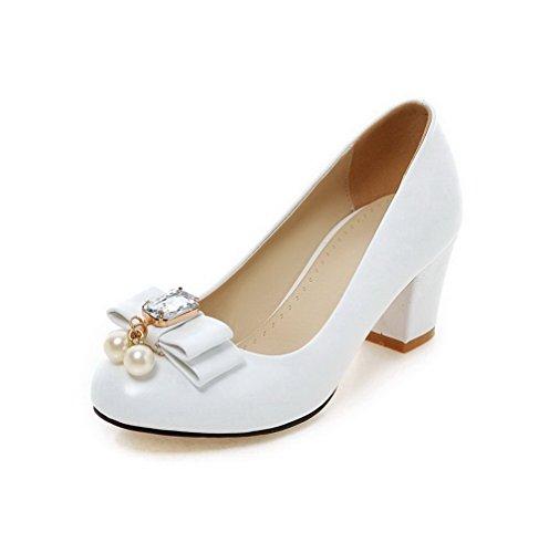 VogueZone009 Damen Weiches Material Ziehen auf Rund Zehe Niedriger Absatz Pumps Schuhe, Grün, 38