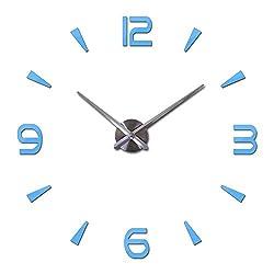 Fashion New DIY Acrylic Mirror Wall Clock Big Quartz Watch Still Life Clocks Living Room Home Decoration Brief 3D Stickers,Sky Blue,27Inch
