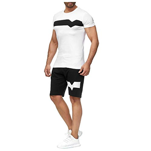Men's Casual Tracksuit Short Sleeve and Shorts Two Pieces Outfits Set Workout Jogging Athletic Sportwear(White,XL)