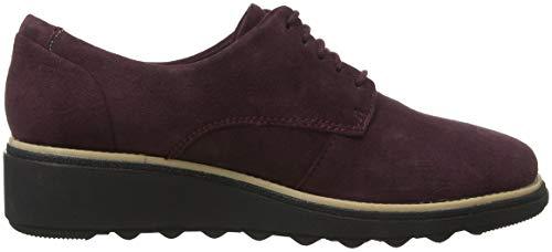 Noel Cordones Mujer Nubuck Sharon Para Derby Zapatos De Clarks Marrón burgundy vI5Tn0xqTw