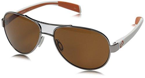 Native Eyewear Haskill Polarized Sunglass, Chrome and White Frame/Brown Lens