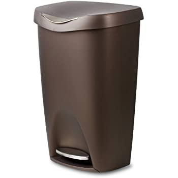 umbra brim large kitchen trash can with stainless steel foot pedal stylish and durable 13 gallon step garbage can with lid bronze. Interior Design Ideas. Home Design Ideas