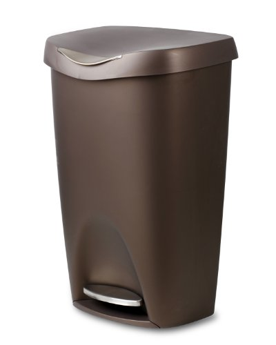 Umbra Brim Large Kitchen Trash Can with Stainless Steel Foot Pedal – Stylish and Durable 13 Gallon Step Garbage Can with Lid, (Bronze) (Pedal Trash Can)